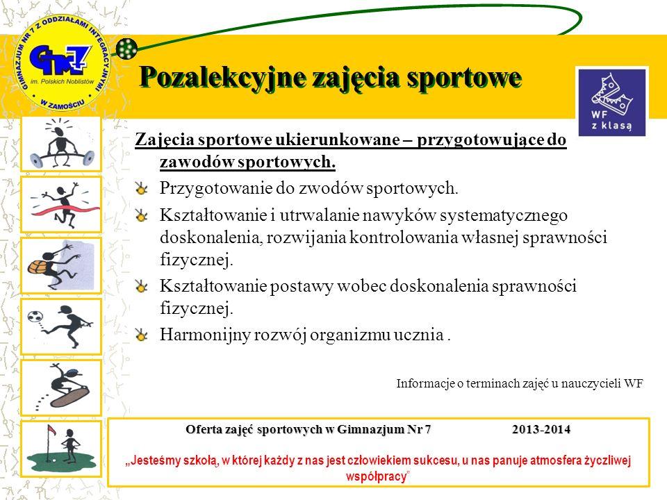 Pozalekcyjne zajęcia sportowe Zajęcia sportowe ukierunkowane – przygotowujące do zawodów sportowych. Przygotowanie do zwodów sportowych. Kształtowanie