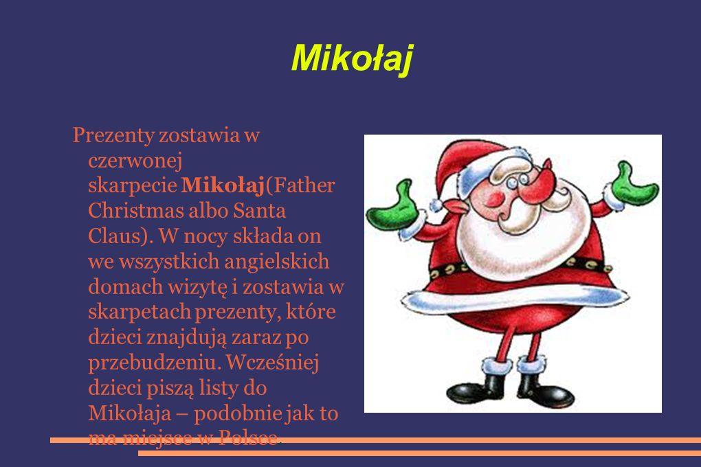 Mikołaj Prezenty zostawia w czerwonej skarpecie Mikołaj(Father Christmas albo Santa Claus).