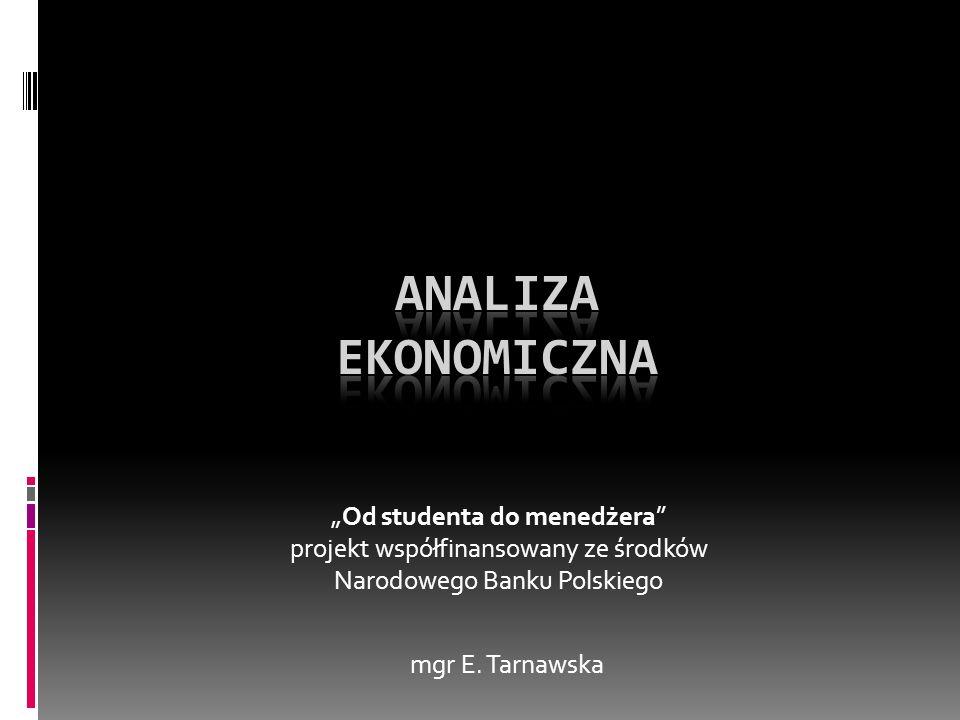 Od studenta do menedżera projekt współfinansowany ze środków Narodowego Banku Polskiego mgr E. Tarnawska