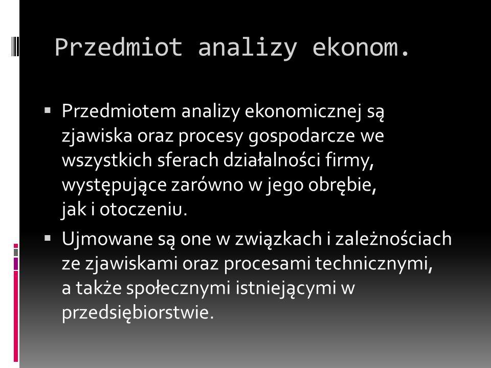 Wybrane rodzaje analizy ekonomicznej Analiza makroekonomiczna – wyniki ekonomiczne całej gospodarki narodowej Analiza mikroekonomiczna – badanie stanów i wyników działalności ekonomicznej podmiotów gospodarczych Analizy dziedzinowe (obejmujące poszczególne dziedziny działalności gospodarczej) – analiza produkcji, analiza gospodarowania czynnikiem ludzkim, analiza gospodarki materiałowej itp.