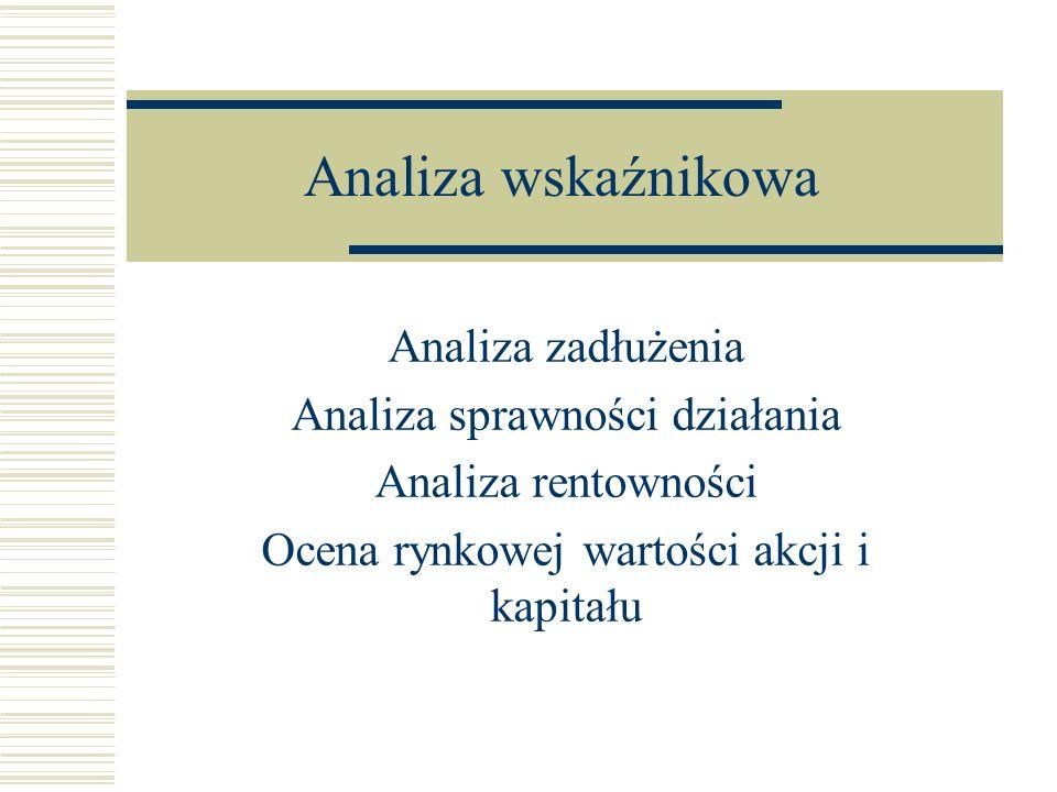 Analiza wskaźnikowa Analiza zadłużenia Analiza sprawności działania Analiza rentowności Ocena rynkowej wartości akcji i kapitału