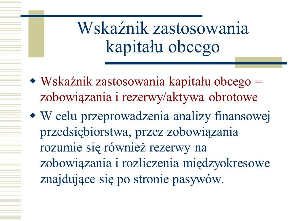Wskaźnik zastosowania kapitału obcego Wskaźnik zastosowania kapitału obcego = zobowiązania i rezerwy/aktywa obrotowe W celu przeprowadzenia analizy fi