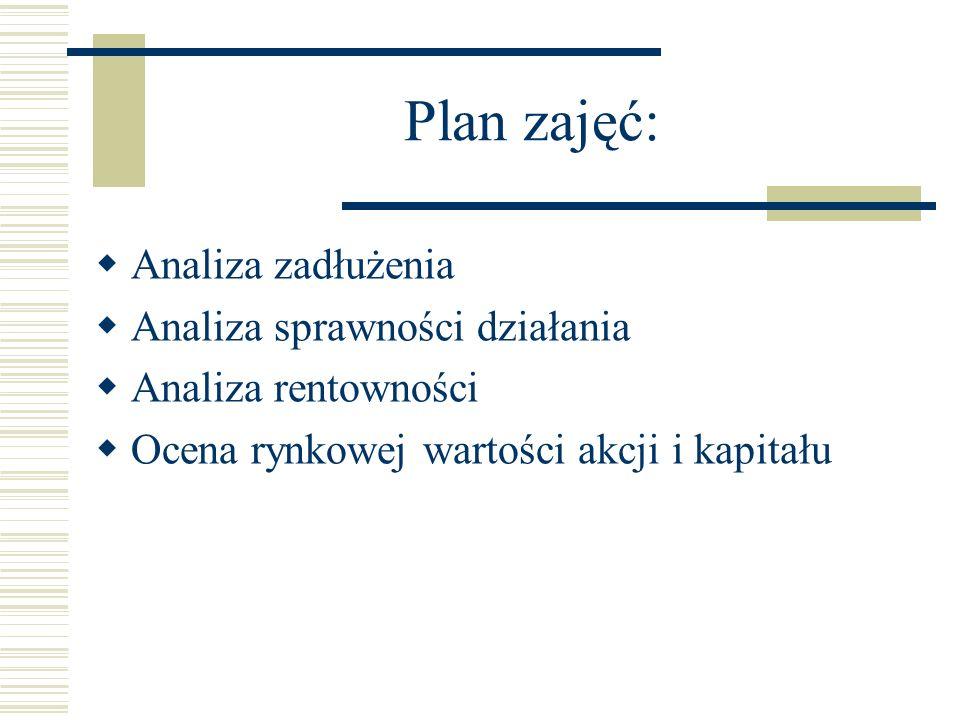 Plan zajęć: Analiza zadłużenia Analiza sprawności działania Analiza rentowności Ocena rynkowej wartości akcji i kapitału