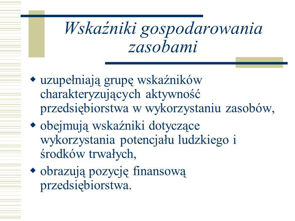 Wskaźniki gospodarowania zasobami uzupełniają grupę wskaźników charakteryzujących aktywność przedsiębiorstwa w wykorzystaniu zasobów, obejmują wskaźni