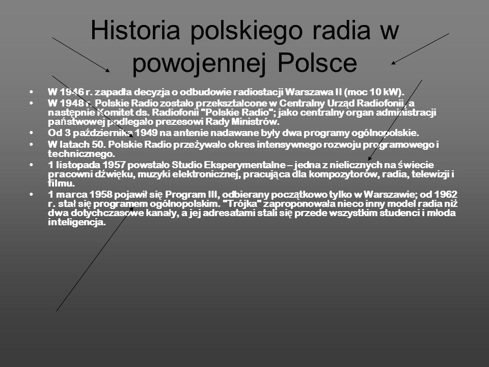 Historia polskiego radia w powojennej Polsce W 1946 r. zapad ł a decyzja o odbudowie radiostacji Warszawa II (moc 10 kW). W 1948 r. Polskie Radio zost