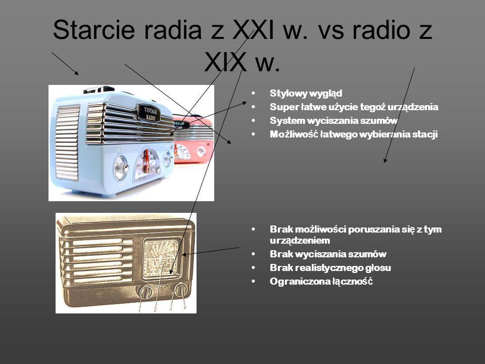 Starcie radia z XXI w. vs radio z XIX w. Stylowy wygl ą d Super ł atwe u ż ycie tego ż urz ą dzenia System wyciszania szumów Mo ż liwo ść ł atwego wyb
