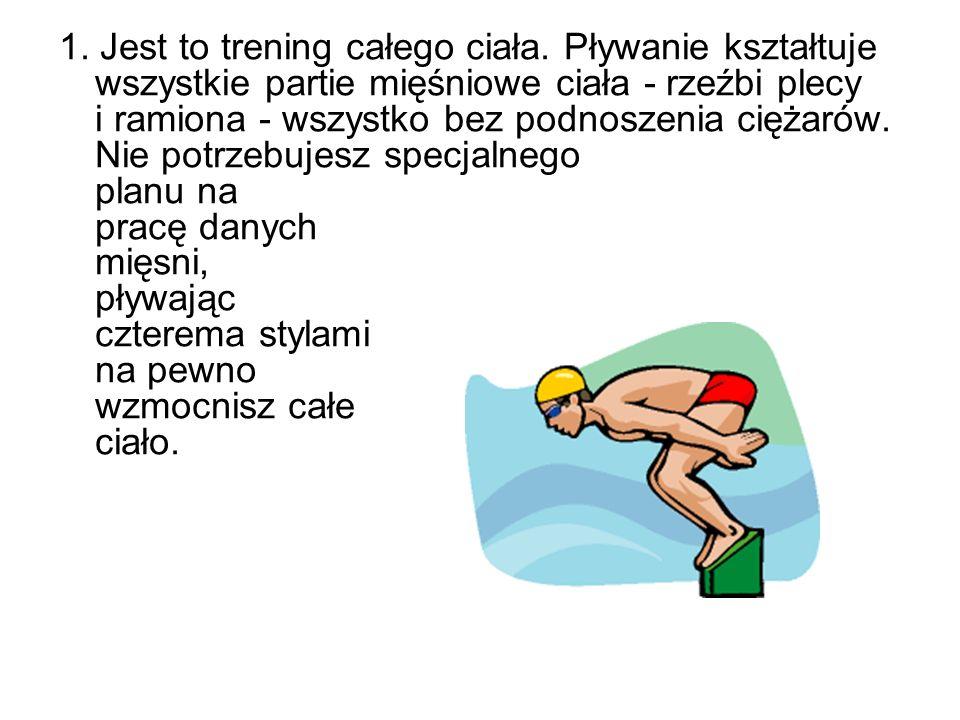 1. Jest to trening całego ciała. Pływanie kształtuje wszystkie partie mięśniowe ciała - rzeźbi plecy i ramiona - wszystko bez podnoszenia ciężarów. Ni