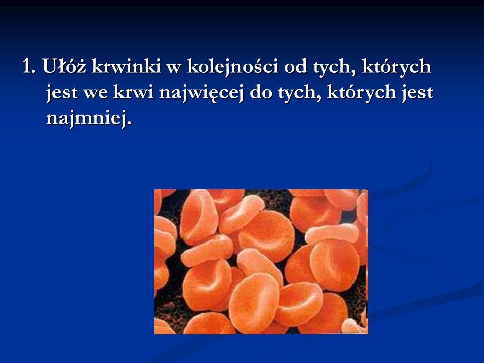 1. Ułóż krwinki w kolejności od tych, których jest we krwi najwięcej do tych, których jest najmniej.