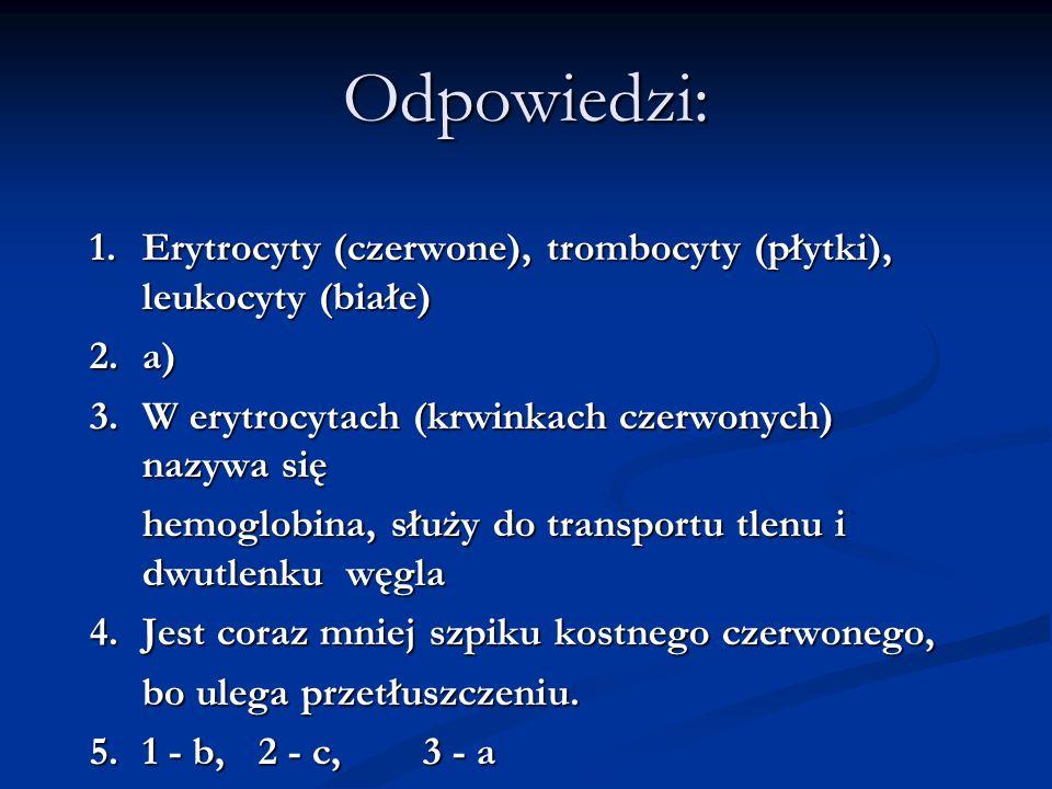 Odpowiedzi: 1. Erytrocyty (czerwone), trombocyty (płytki), leukocyty (białe) 2.