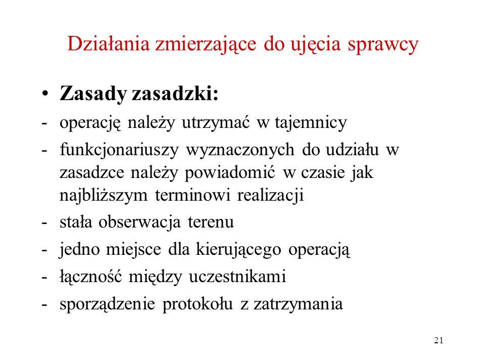 21 Działania zmierzające do ujęcia sprawcy Zasady zasadzki: -operację należy utrzymać w tajemnicy -funkcjonariuszy wyznaczonych do udziału w zasadzce