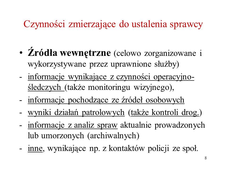 8 Czynności zmierzające do ustalenia sprawcy Źródła wewnętrzne (celowo zorganizowane i wykorzystywane przez uprawnione służby) -informacje wynikające z czynności operacyjno- śledczych (także monitoringu wizyjnego), -informacje pochodzące ze źródeł osobowych -wyniki działań patrolowych (także kontroli drog.) -informacje z analiz spraw aktualnie prowadzonych lub umorzonych (archiwalnych) -inne, wynikające np.