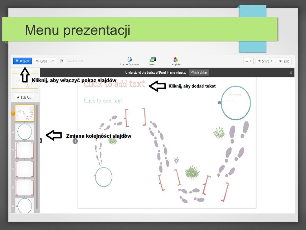 Wprowadzanie tekstu Aby dodać tekst, najedź na przeznaczone do tego miejsce i naciśnij lewym przyciskiem myszy.
