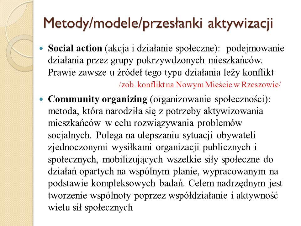 Metody/modele/przesłanki aktywizacji Social-cultural animation (animacja społeczno- kulturalna): Jest metodą budowania świata związków, autentycznych relacji i więzi łączących ludzi w grupy [...], metodą odnalezienia się we współczesnej przestrzeni społecznej, którą określa się jako rynek kontaktów (interakcji), na którym negocjujemy swe relacje z innymi.