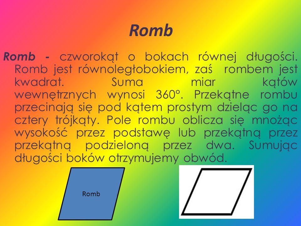 Romb Romb - czworokąt o bokach równej długości. Romb jest równoległobokiem, zaś rombem jest kwadrat. Suma miar kątów wewnętrznych wynosi 360°. Przekąt