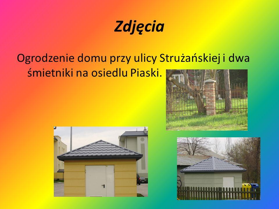Zdjęcia Ogrodzenie domu przy ulicy Strużańskiej i dwa śmietniki na osiedlu Piaski.