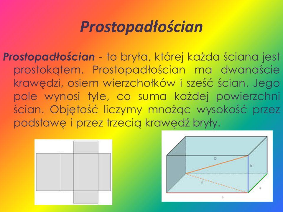 Prostopadłościan Prostopadłościan - to bryła, której każda ściana jest prostokątem. Prostopadłościan ma dwanaście krawędzi, osiem wierzchołków i sześć