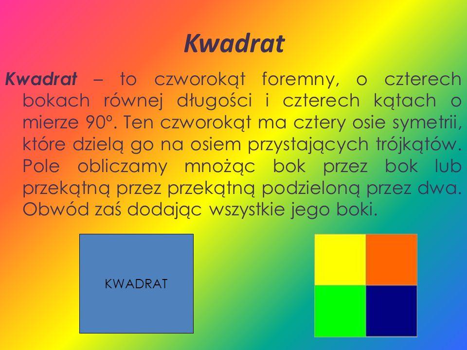 Kwadrat Kwadrat – to czworokąt foremny, o czterech bokach równej długości i czterech kątach o mierze 90º. Ten czworokąt ma cztery osie symetrii, które