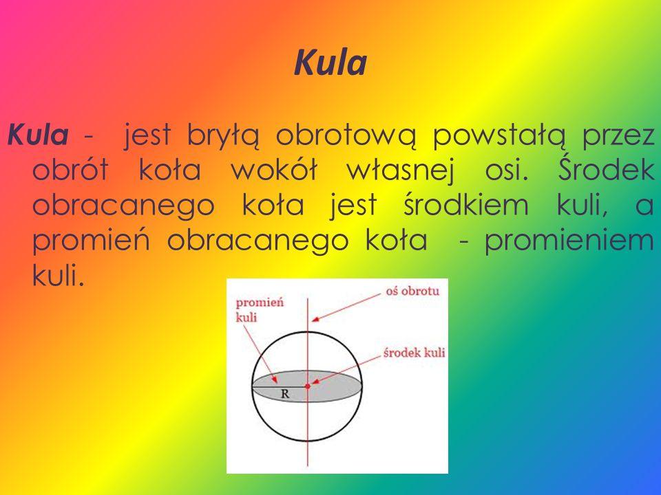 Kula Kula - jest bryłą obrotową powstałą przez obrót koła wokół własnej osi. Środek obracanego koła jest środkiem kuli, a promień obracanego koła - pr