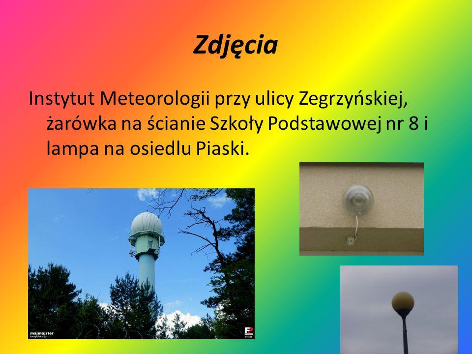 Zdjęcia Instytut Meteorologii przy ulicy Zegrzyńskiej, żarówka na ścianie Szkoły Podstawowej nr 8 i lampa na osiedlu Piaski.