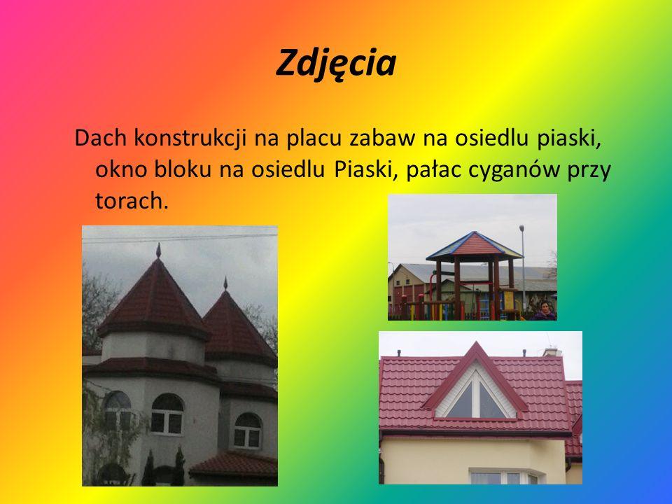 Zdjęcia Dach konstrukcji na placu zabaw na osiedlu piaski, okno bloku na osiedlu Piaski, pałac cyganów przy torach.