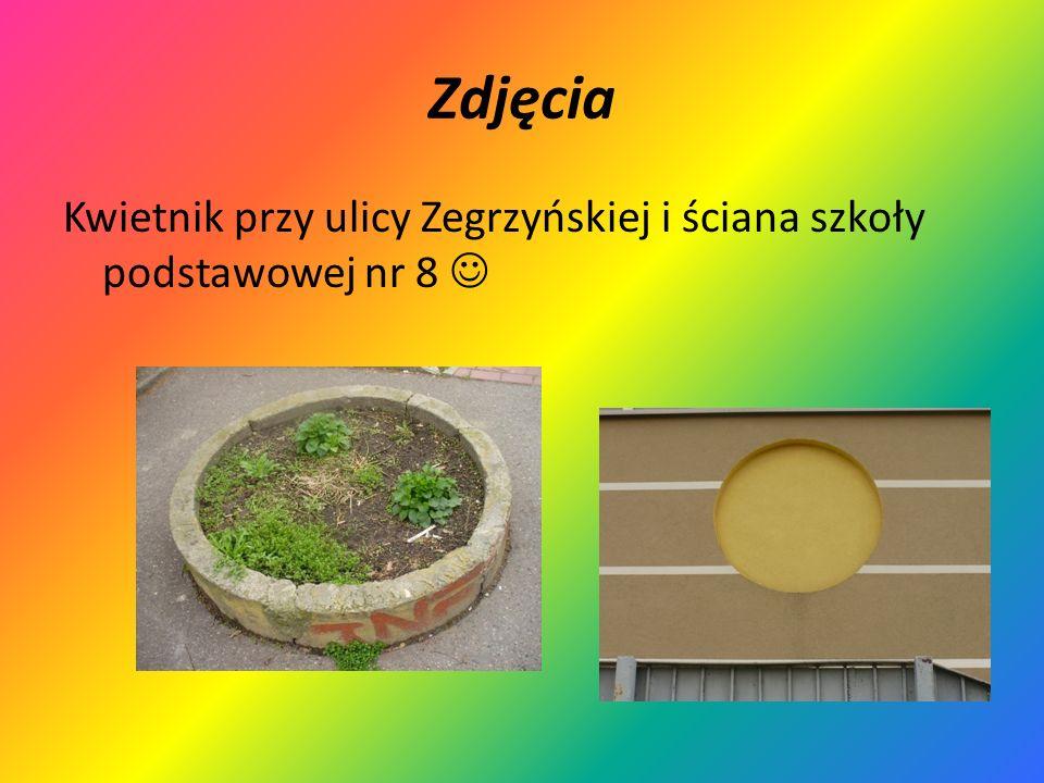 Zdjęcia Kwietnik przy ulicy Zegrzyńskiej i ściana szkoły podstawowej nr 8