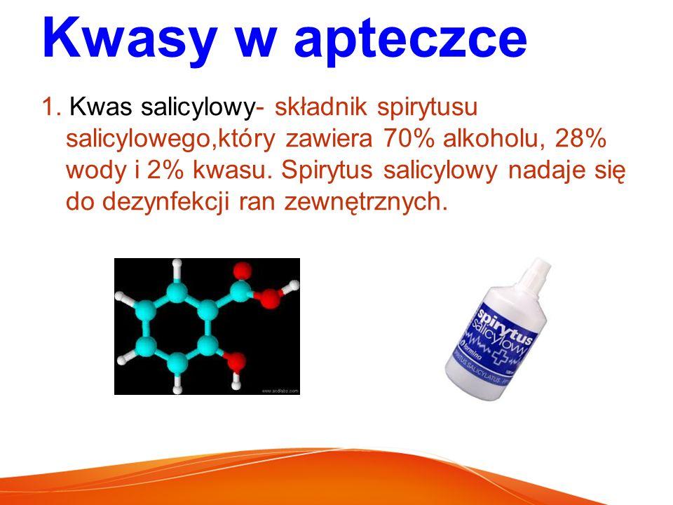 Kwasy w apteczce 1. Kwas salicylowy- składnik spirytusu salicylowego,który zawiera 70% alkoholu, 28% wody i 2% kwasu. Spirytus salicylowy nadaje się d