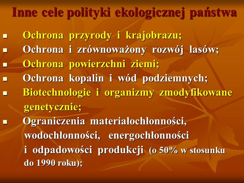 Inne cele polityki ekologicznej państwa Ochrona przyrody i krajobrazu; Ochrona przyrody i krajobrazu; Ochrona i zrównoważony rozwój lasów; Ochrona i z