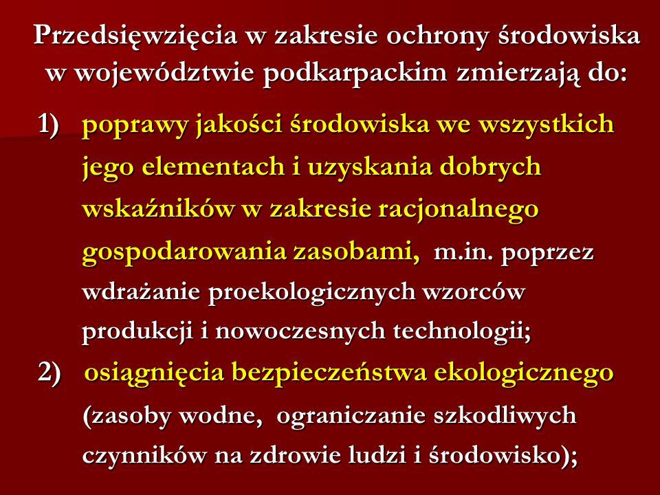 Przedsięwzięcia w zakresie ochrony środowiska w województwie podkarpackim zmierzają do: 1) poprawy jakości środowiska we wszystkich jego elementach i