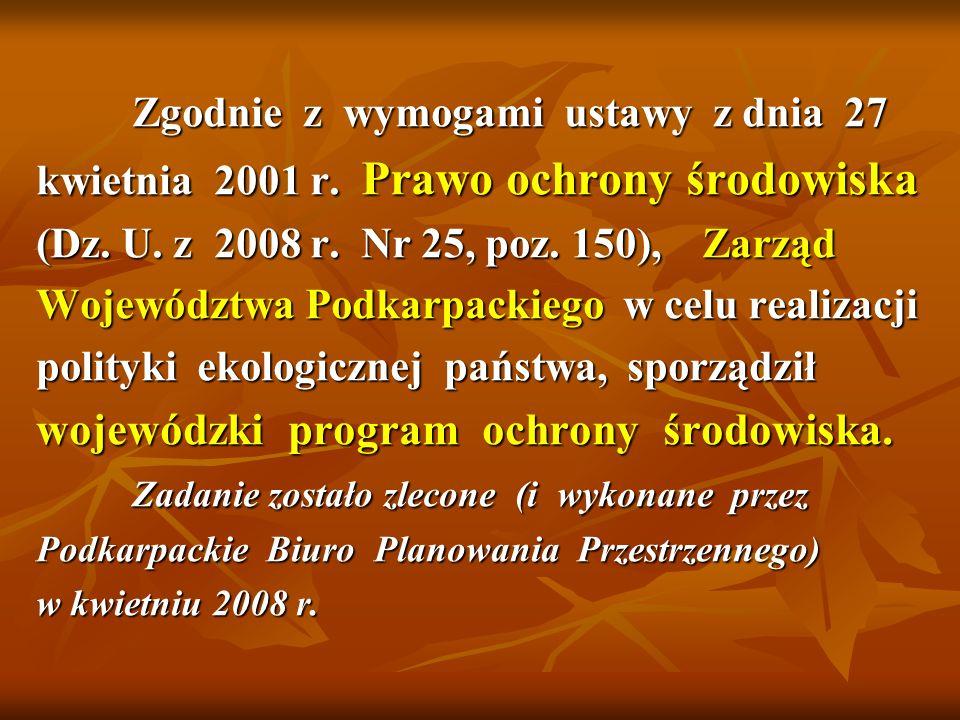 Zgodnie z wymogami ustawy z dnia 27 kwietnia 2001 r. Prawo ochrony środowiska (Dz. U. z 2008 r. Nr 25, poz. 150), Zarząd Województwa Podkarpackiego w