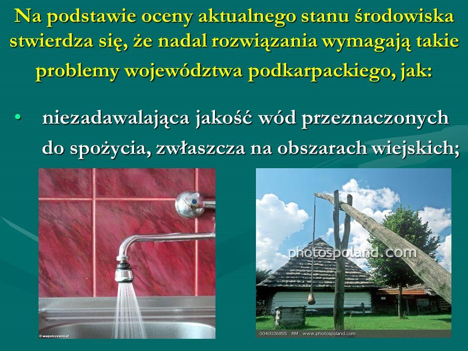 Na podstawie oceny aktualnego stanu środowiska stwierdza się, że nadal rozwiązania wymagają takie problemy województwa podkarpackiego, jak: niezadawal