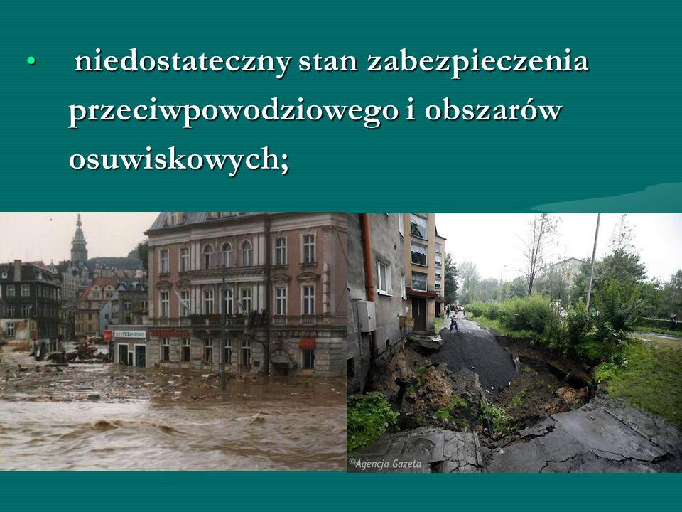 niedostateczny stan zabezpieczenia niedostateczny stan zabezpieczenia przeciwpowodziowego i obszarów przeciwpowodziowego i obszarów osuwiskowych; osuw