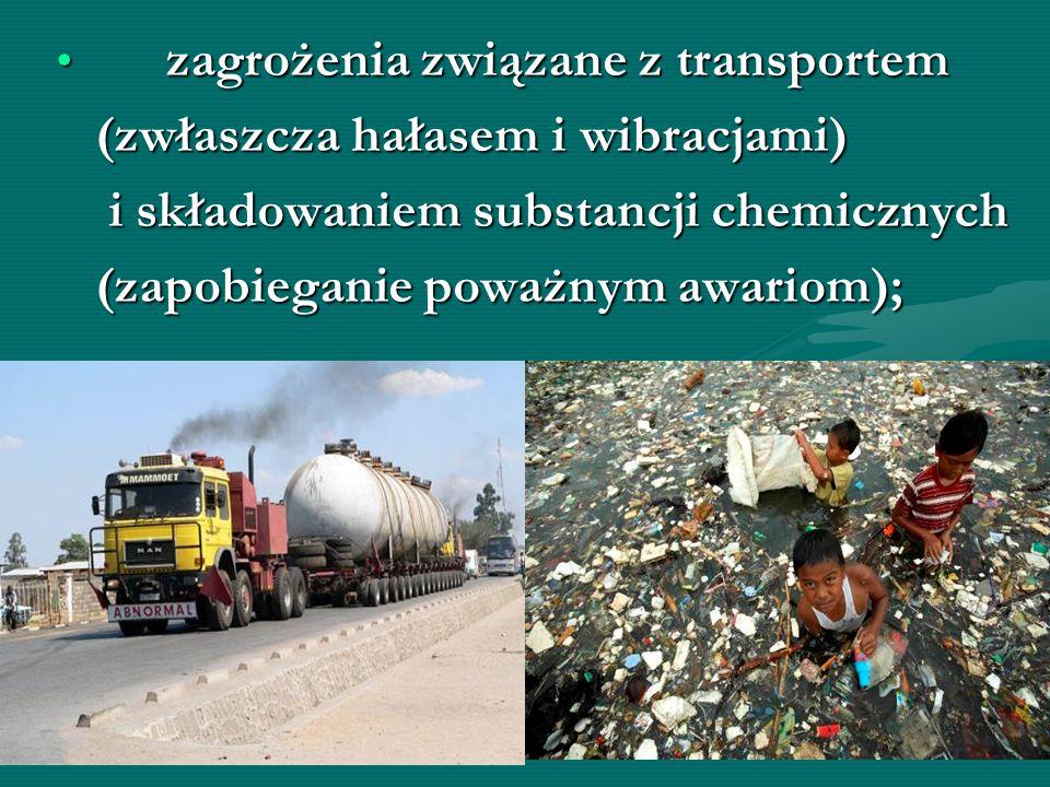 zagrożenia związane z transportem zagrożenia związane z transportem (zwłaszcza hałasem i wibracjami) (zwłaszcza hałasem i wibracjami) i składowaniem s