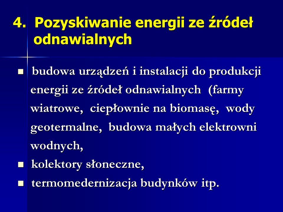 4. Pozyskiwanie energii ze źródeł odnawialnych budowa urządzeń i instalacji do produkcji budowa urządzeń i instalacji do produkcji energii ze źródeł o