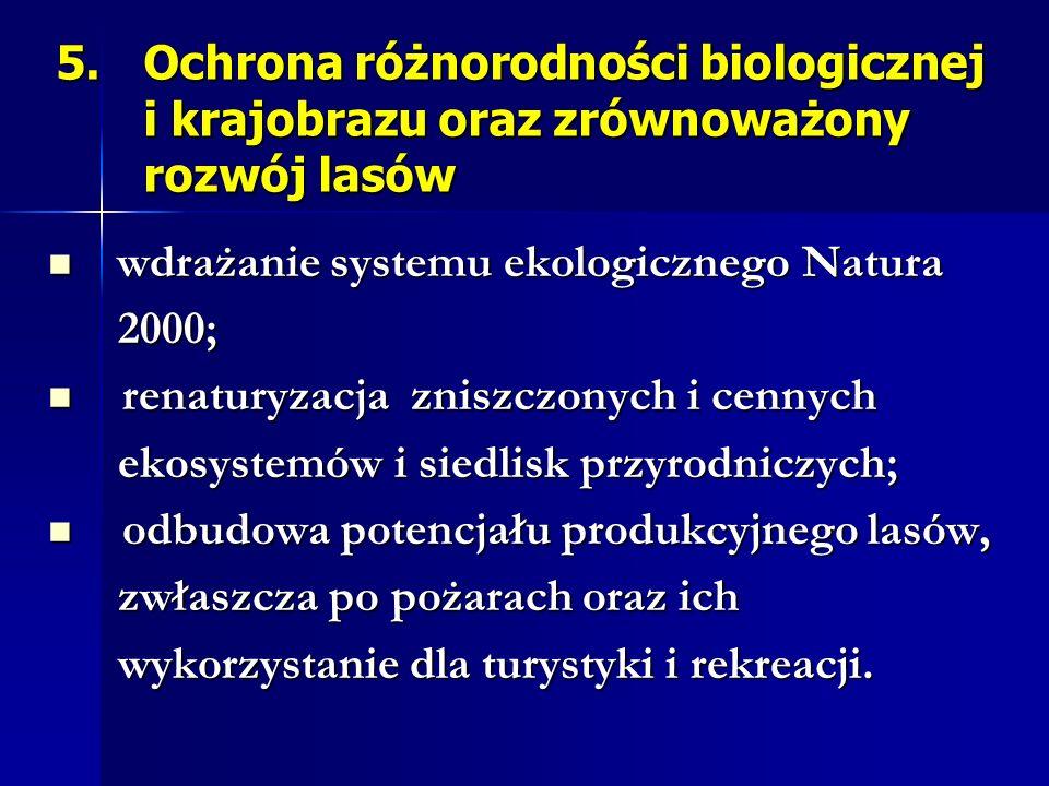 5.Ochrona różnorodności biologicznej i krajobrazu oraz zrównoważony rozwój lasów wdrażanie systemu ekologicznego Natura wdrażanie systemu ekologiczneg