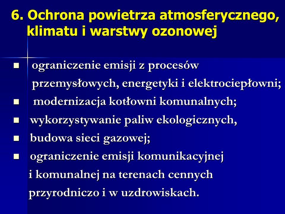 6. Ochrona powietrza atmosferycznego, klimatu i warstwy ozonowej 6. Ochrona powietrza atmosferycznego, klimatu i warstwy ozonowej ograniczenie emisji