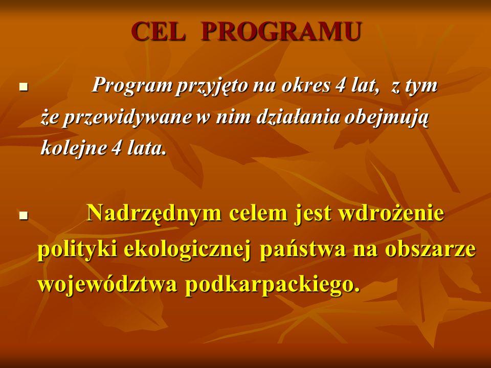 CEL PROGRAMU Program przyjęto na okres 4 lat, z tym Program przyjęto na okres 4 lat, z tym że przewidywane w nim działania obejmują że przewidywane w