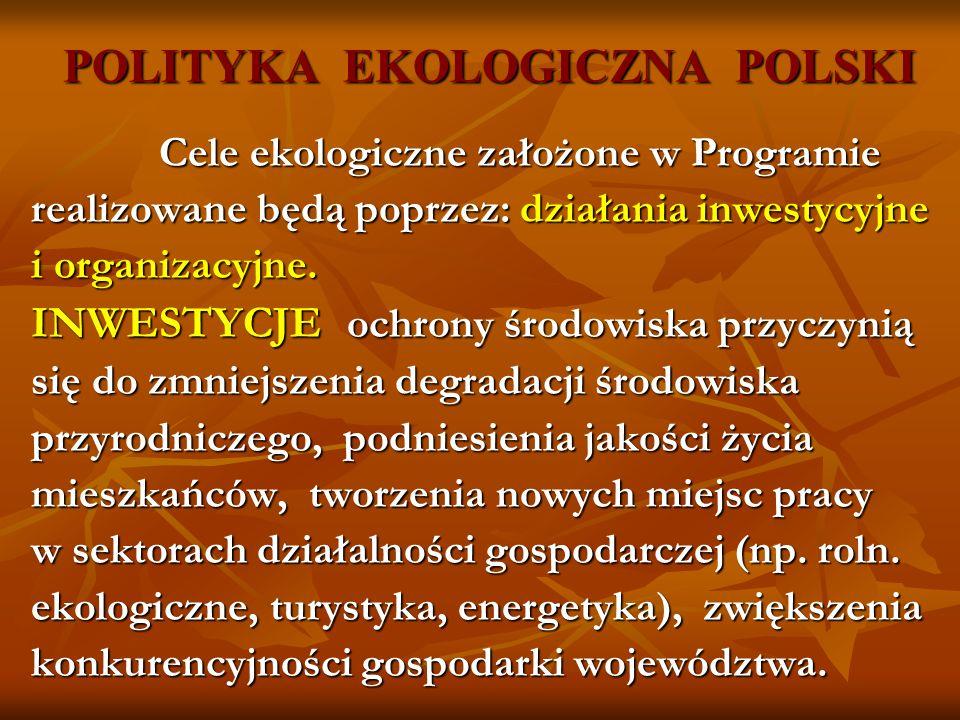 POLITYKA EKOLOGICZNA POLSKI Cele ekologiczne założone w Programie Cele ekologiczne założone w Programie realizowane będą poprzez: działania inwestycyj
