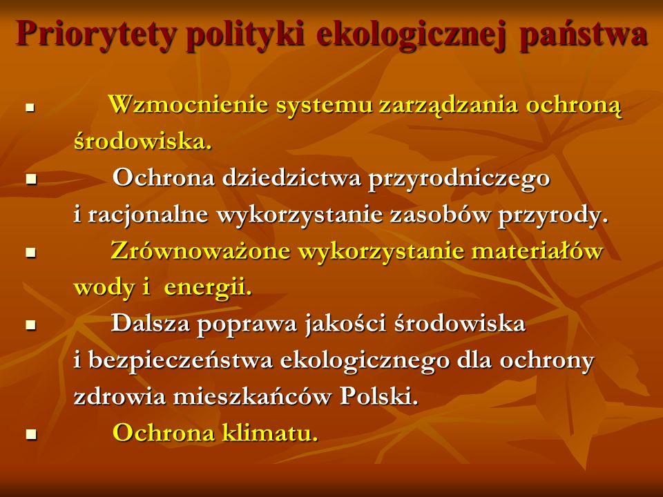 Priorytety polityki ekologicznej państwa Wzmocnienie systemu zarządzania ochroną Wzmocnienie systemu zarządzania ochroną środowiska. środowiska. Ochro
