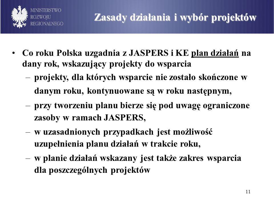12 Podział środków dostępnych w ramach PO Infrastruktura i Środowisko wg sektorów (w mln euro) Zasady działania i wybór projektów Wybór projektów: –projekty zgłaszają instytucje zarządzające programami operacyjnymi (z wykorzystaniem instytucji pośredniczących) - to one wskazują projekty do wsparcia: beneficjenci nie powinni zgłaszać projektów bezpośrednio do instytucji koordynującej JASPERS, –projekty powinny charakteryzować się jedną z następujących cech: mieć nietypowy, wyjątkowo skomplikowany charakter, np.