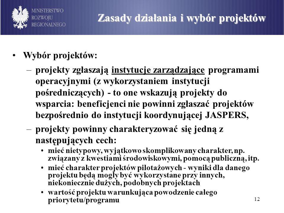 12 Podział środków dostępnych w ramach PO Infrastruktura i Środowisko wg sektorów (w mln euro) Zasady działania i wybór projektów Wybór projektów: –pr