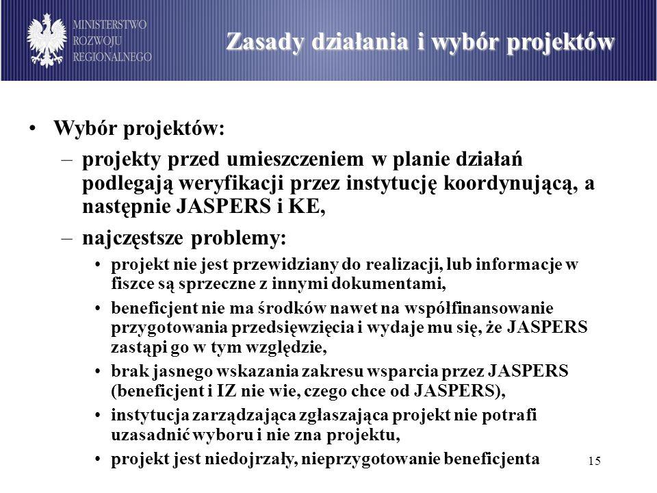 15 Podział środków dostępnych w ramach PO Infrastruktura i Środowisko wg sektorów (w mln euro) Zasady działania i wybór projektów Wybór projektów: –pr