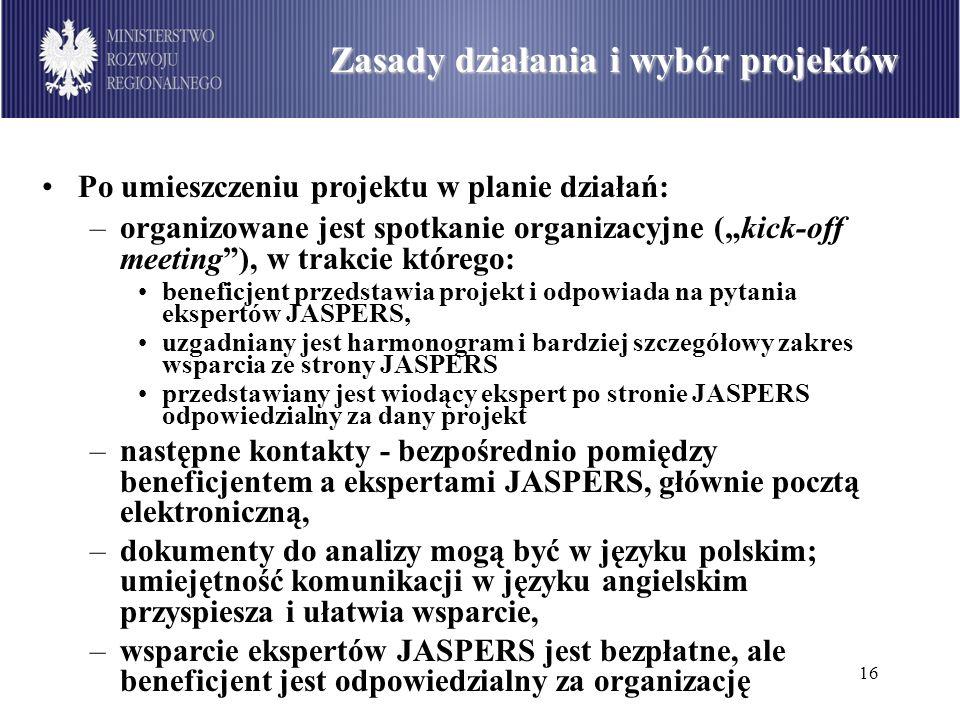 16 Podział środków dostępnych w ramach PO Infrastruktura i Środowisko wg sektorów (w mln euro) Zasady działania i wybór projektów Po umieszczeniu proj