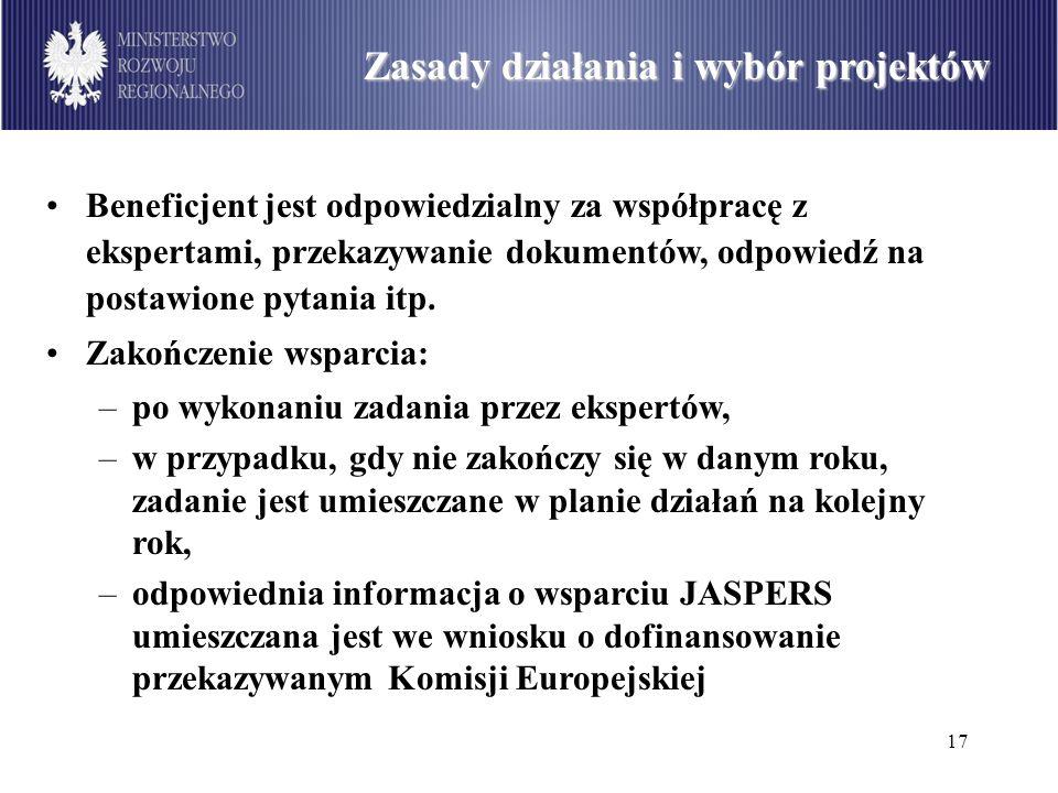 17 Podział środków dostępnych w ramach PO Infrastruktura i Środowisko wg sektorów (w mln euro) Zasady działania i wybór projektów Beneficjent jest odp