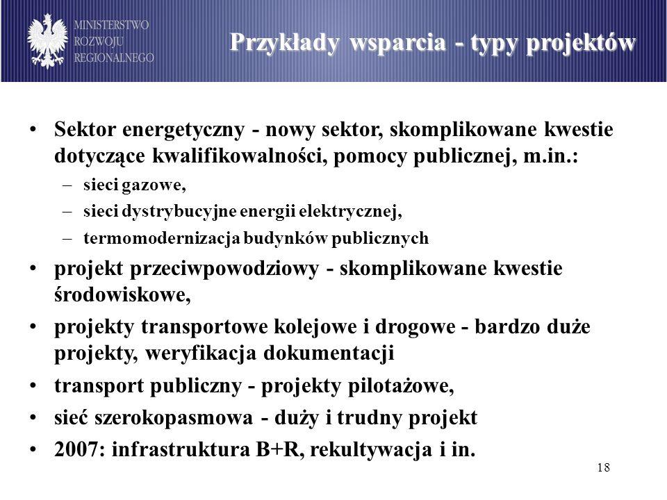 18 Podział środków dostępnych w ramach PO Infrastruktura i Środowisko wg sektorów (w mln euro) Przykłady wsparcia - typy projektów Sektor energetyczny