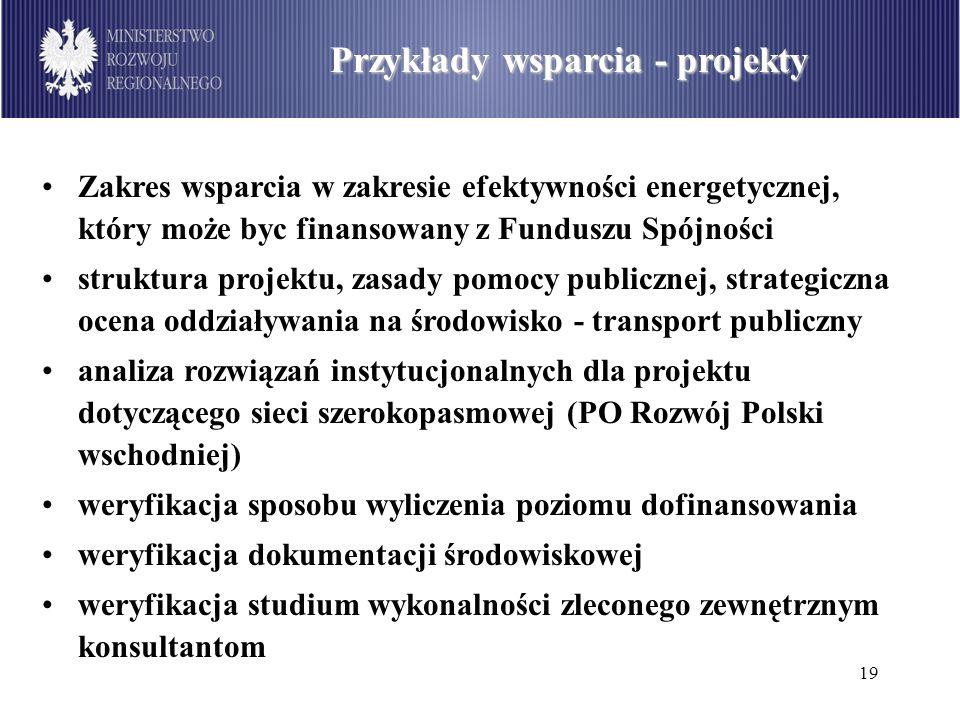 19 Podział środków dostępnych w ramach PO Infrastruktura i Środowisko wg sektorów (w mln euro) Przykłady wsparcia - projekty Zakres wsparcia w zakresi