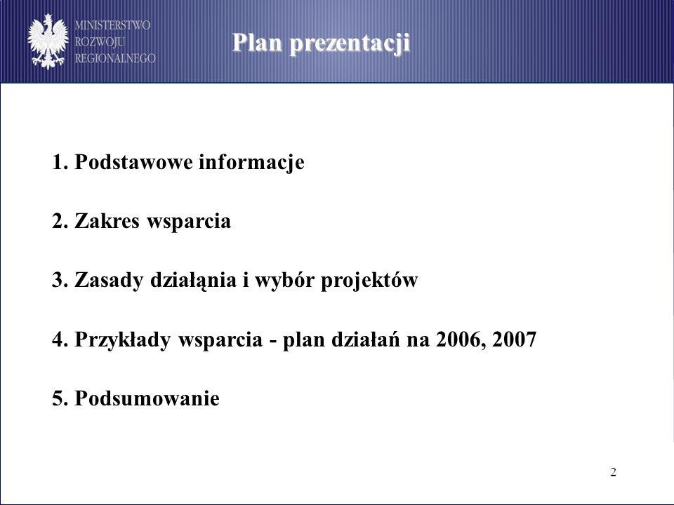 2 Plan prezentacji 1. Podstawowe informacje 2. Zakres wsparcia 3. Zasady działąnia i wybór projektów 4. Przykłady wsparcia - plan działań na 2006, 200