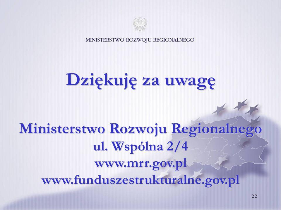 22 Ministerstwo Rozwoju Regionalnego ul. Wspólna 2/4 www.mrr.gov.pl www.funduszestrukturalne.gov.pl Dziękuję za uwagę