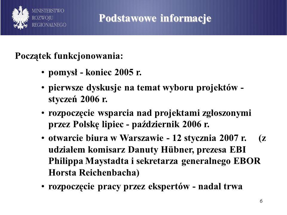6 Alokacja środków w PO IiŚ Podstawowe informacje Początek funkcjonowania: pomysł - koniec 2005 r. pierwsze dyskusje na temat wyboru projektów - stycz