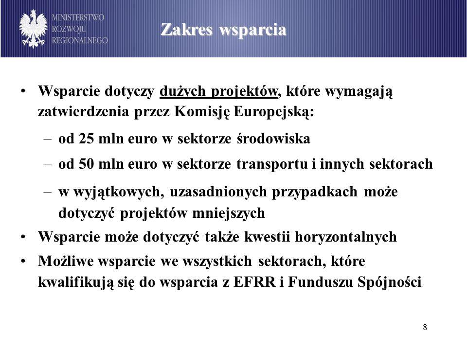 8 Zakres wsparcia Wsparcie dotyczy dużych projektów, które wymagają zatwierdzenia przez Komisję Europejską: –od 25 mln euro w sektorze środowiska –od