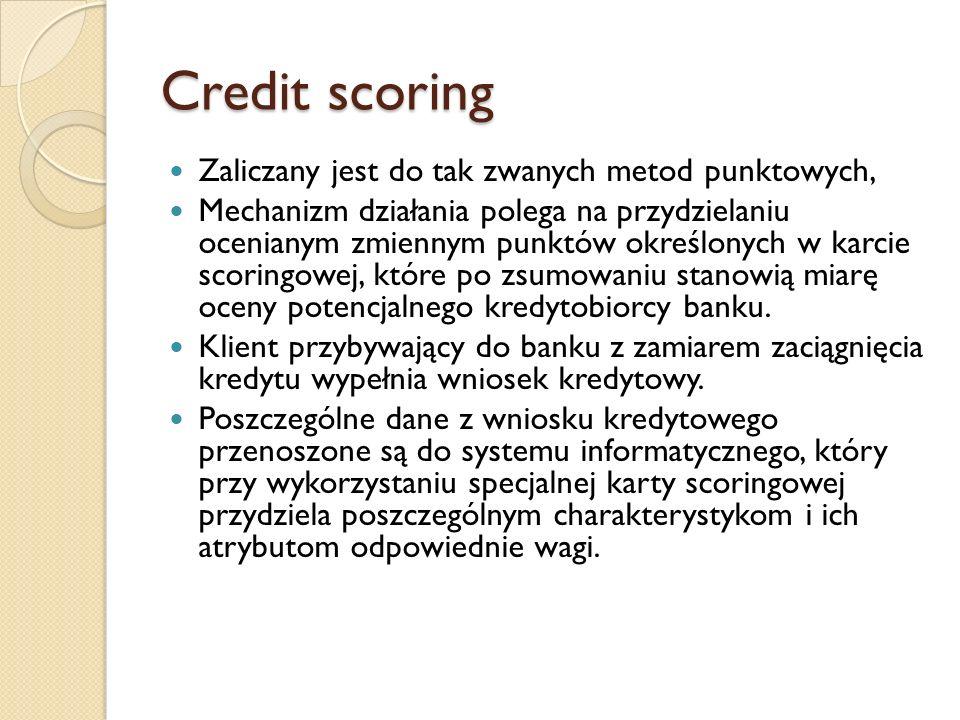 Credit scoring Zaliczany jest do tak zwanych metod punktowych, Mechanizm działania polega na przydzielaniu ocenianym zmiennym punktów określonych w ka